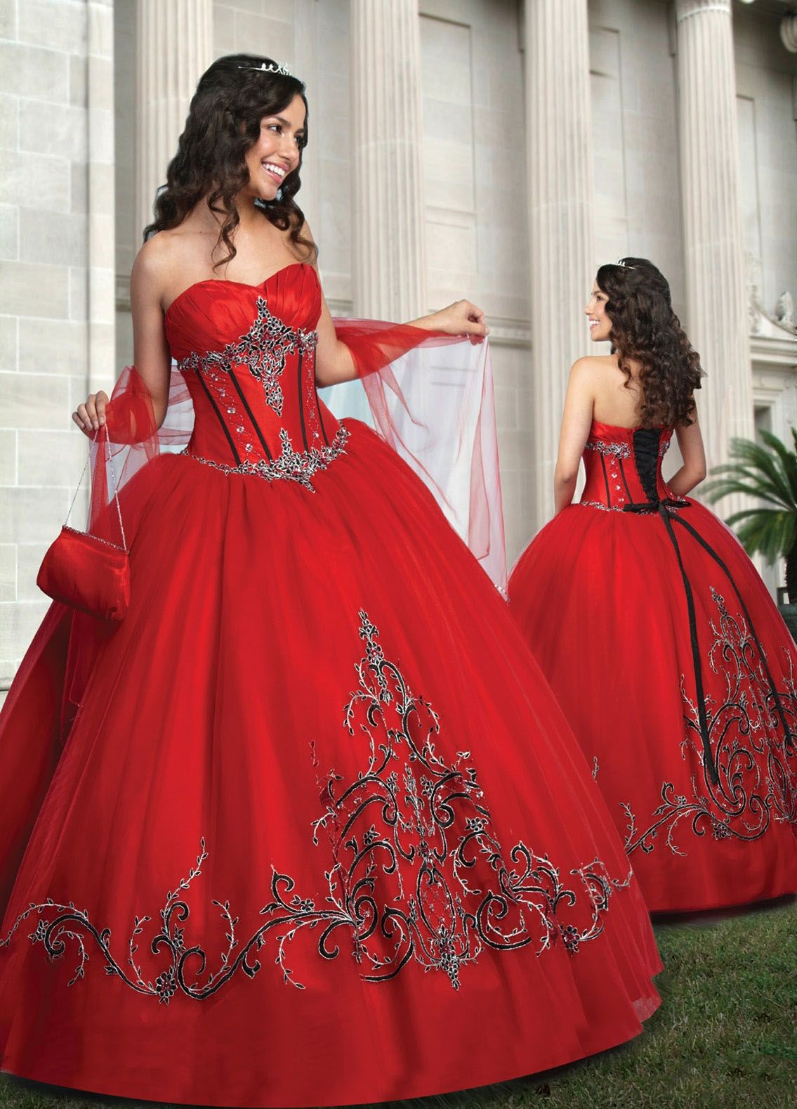 Ball gown sweetheart applique satin floorlength quinceanera dress