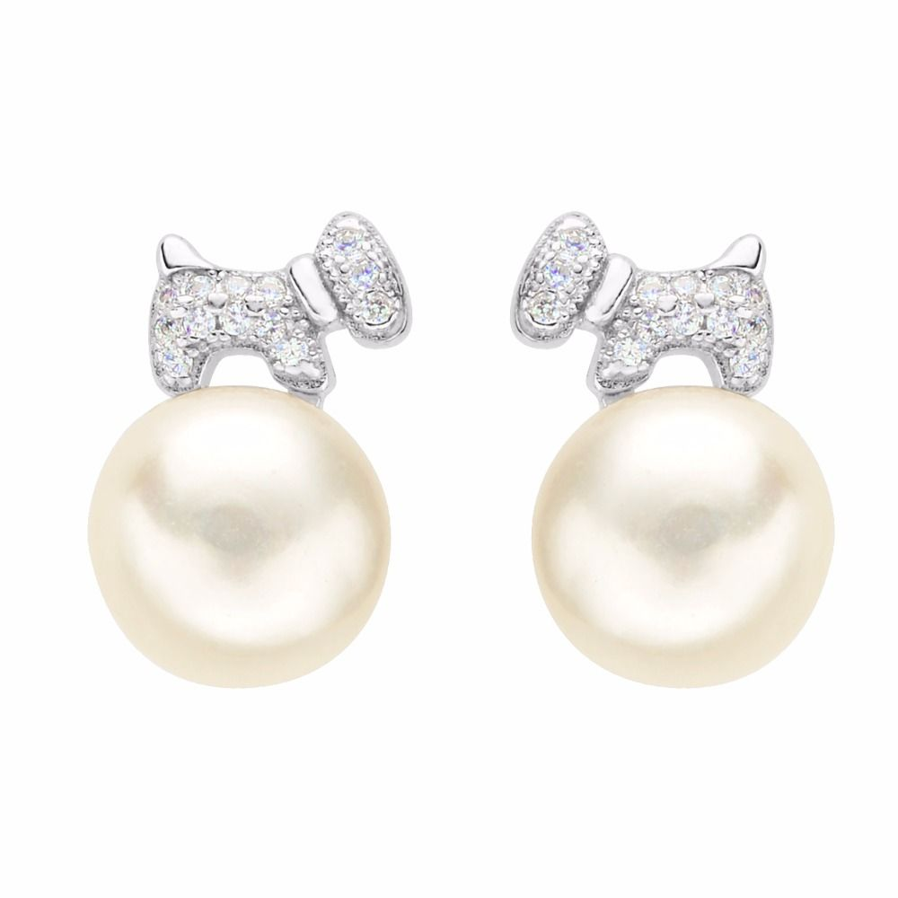 Cheap Zircon Earrings Buy Quality 925 Sterling Directly From China Cubic Suppliers BELLA Silver Lovely Dog Bridal Ivory