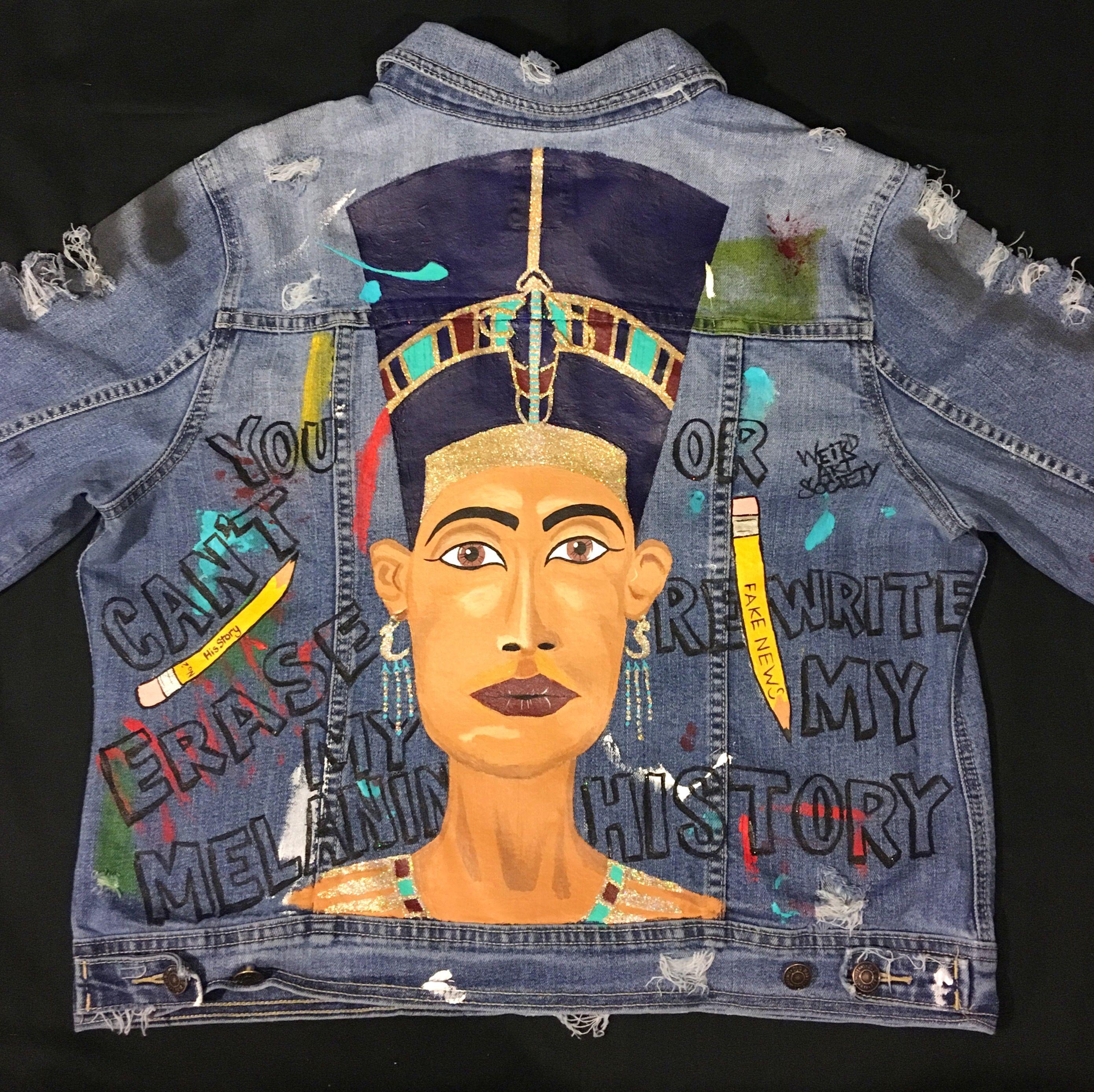 Queen Nefertiti Hand Painted African Art Denim Jean Jacket By Weird Art Society