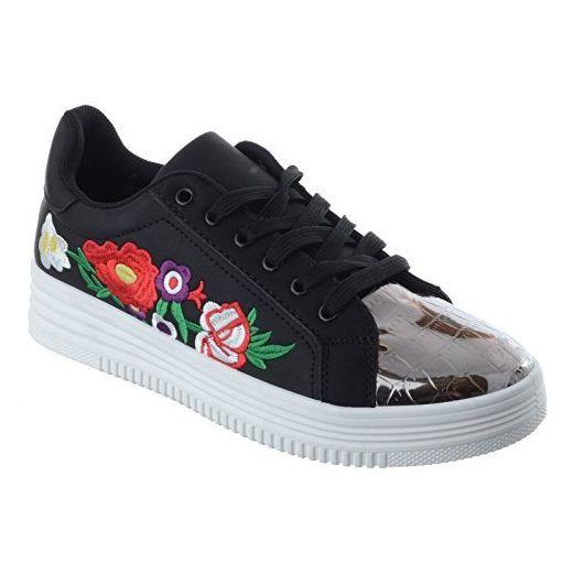 Damen Blumenmuster bestickt Pumps Schuhe Schnürer Turnschuhe toxdCQrBsh