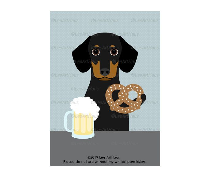 5x7 Black And Tan Dachshund Dog Drinking Beer And