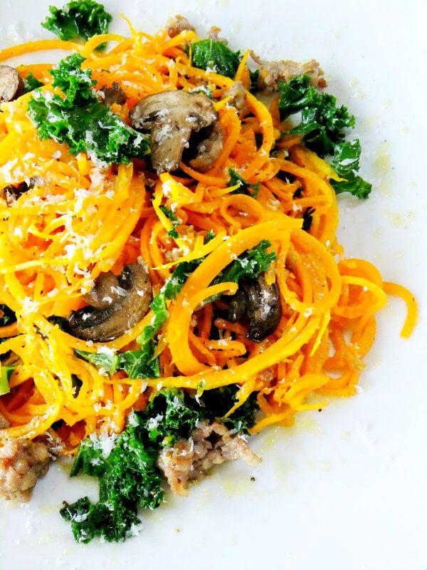 Butternut Squash Noodles with Mushrooms,  Sausage & Kale