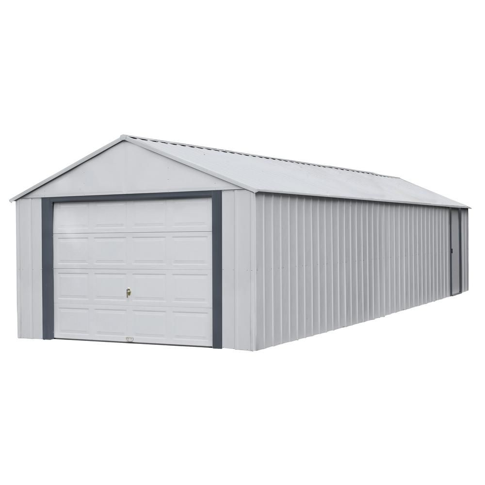 Arrow Murryhill 12 Ft W X 31 Ft D 2 Tone Gray Steel Garage And Storage Building With Side Door And High Gable Roof Grays In 2020 Built In Storage Gable Roof Steel Frame Construction