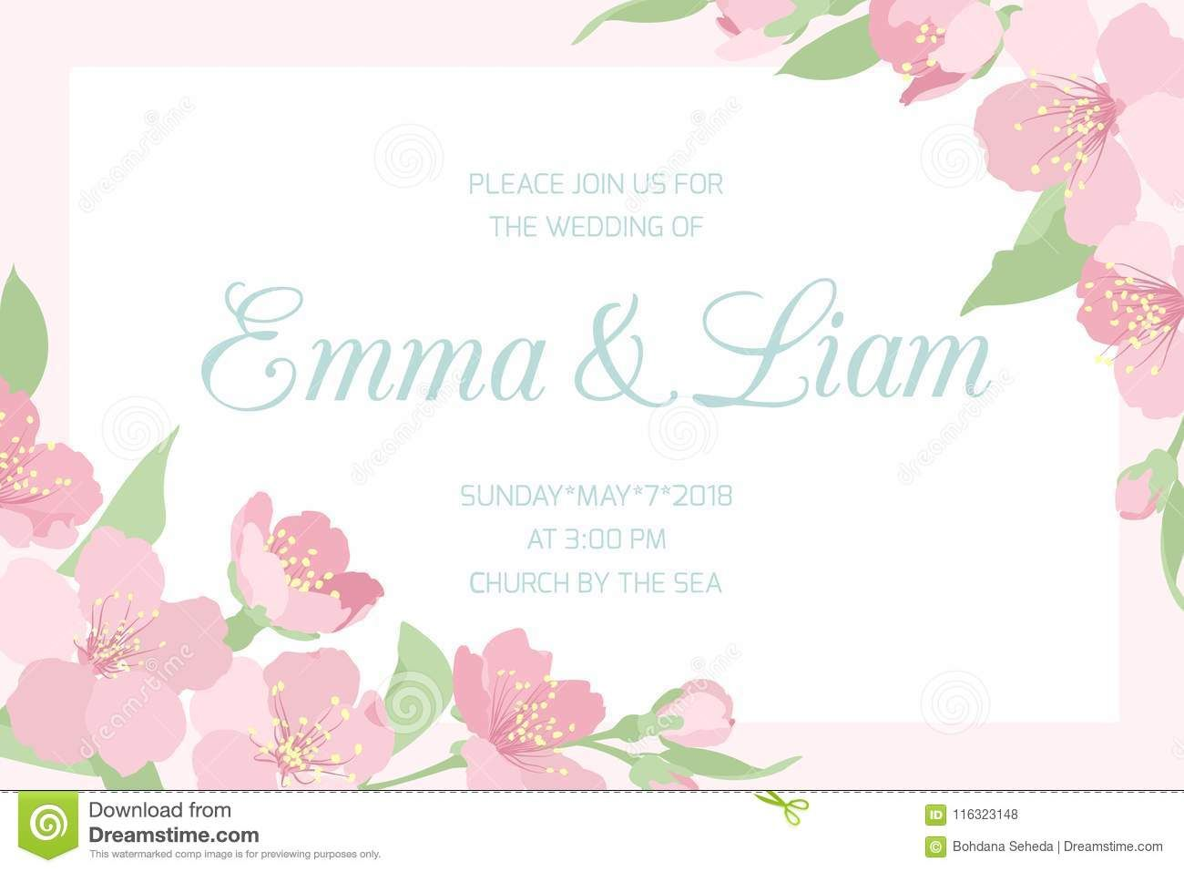 Horizontal Wedding Invitation Template in 5  Wedding