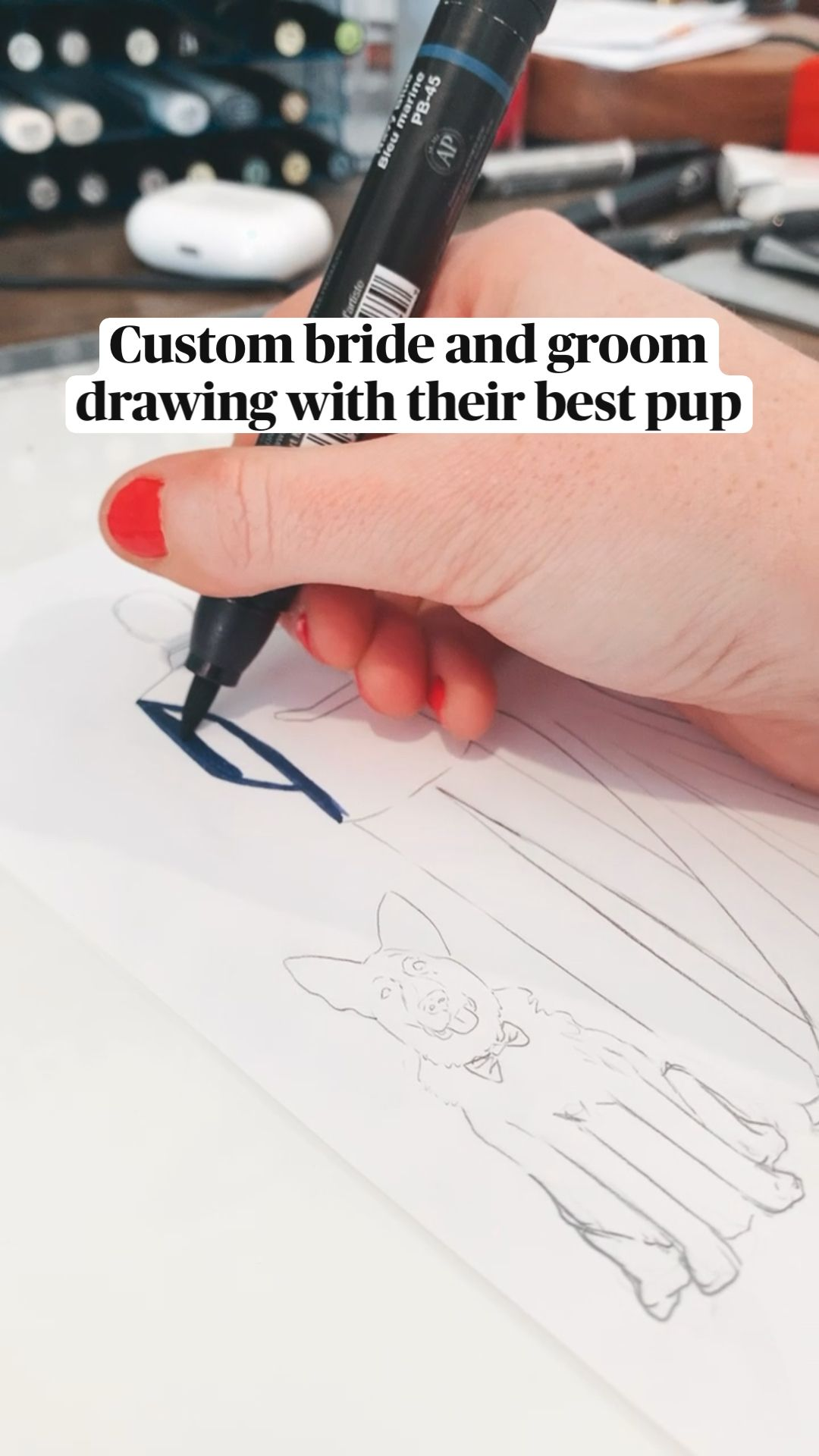Custom bride and groom drawing with their best pup