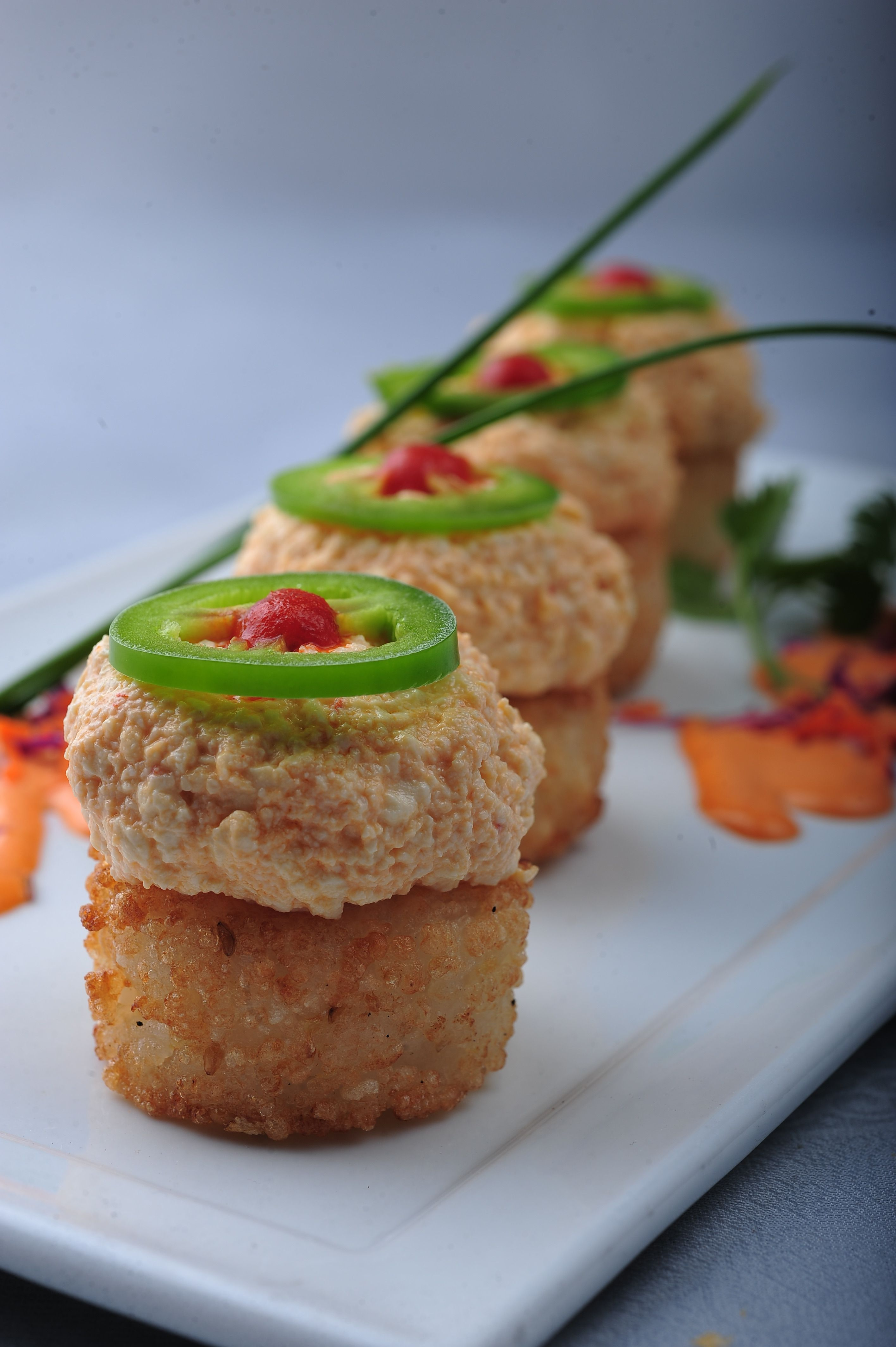 Spicy Tofu on Crispy Rice | Kabuki Vegetarian Selections | Pinterest ...