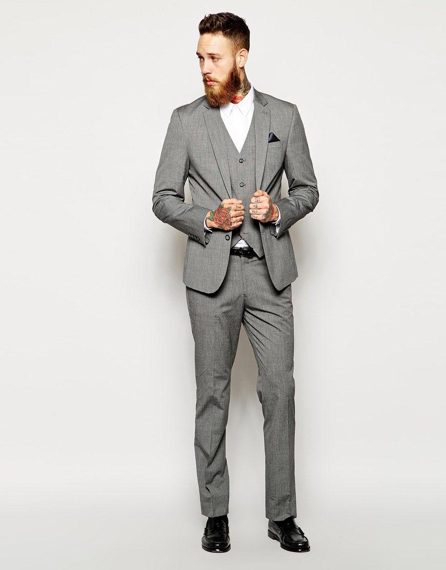 Image 1 of ASOS Slim Fit Suit Grey Pindot | finest menswear ...