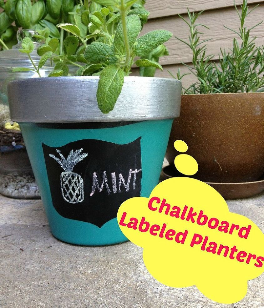 DIY Painted Terra Cotta Planters - I used Deco Arts Patio Paints and some washi tape to create a fun and labeled terra cotta planter for my kitchen herb garden.…