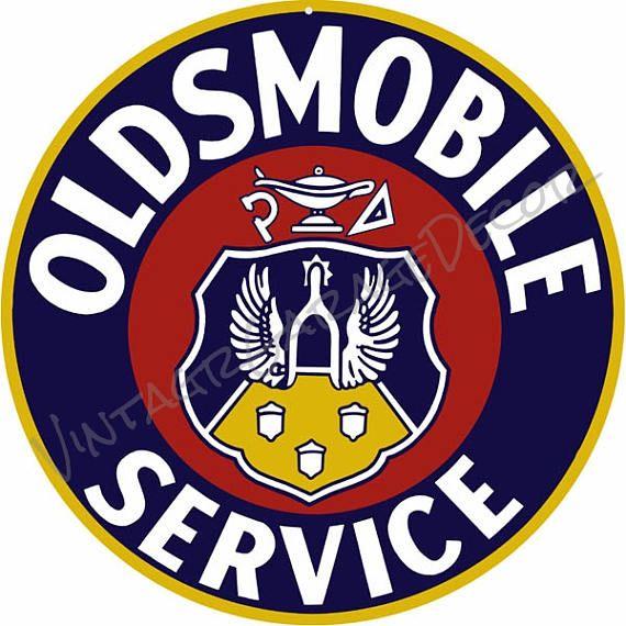 Vintage Oldsmobile Logo Service And Sales Round Metal Sign 2500