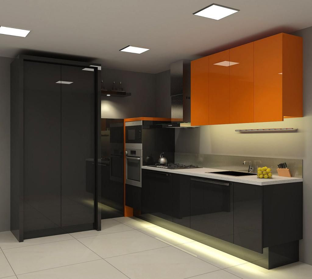 Gloss Black Kitchen Cabinets: Contemporary Kitchen Decorating Ideas Displaying Black