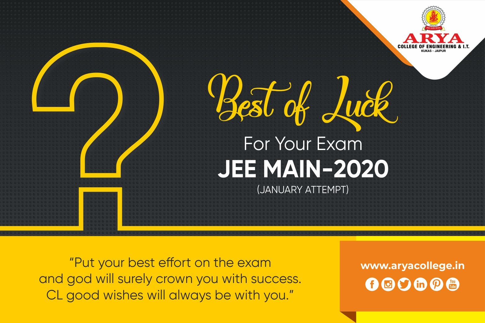 Best Of Luck For Your Exam Jee Main 2020 In 2020 Exam Luck Engineering