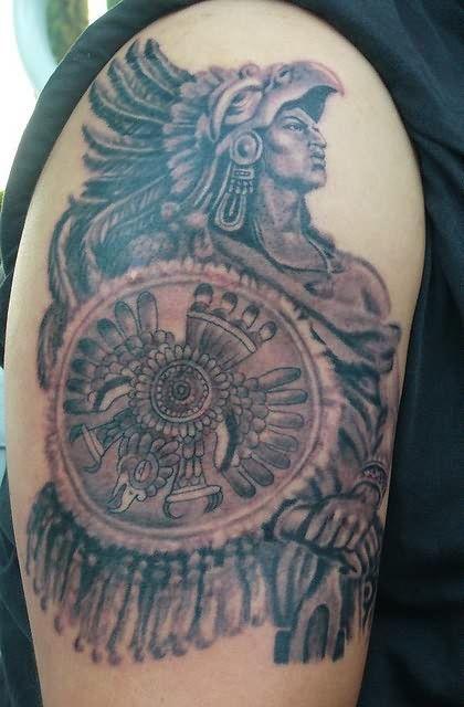 Aztec Chief Tattoo On Shoulder Aztec Tattoo Designs Aztec Tattoo Designs Aztec Warrior Tattoo Aztec Tattoos