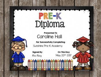 pre k diplomas editable chalkboard prek preschool graduation