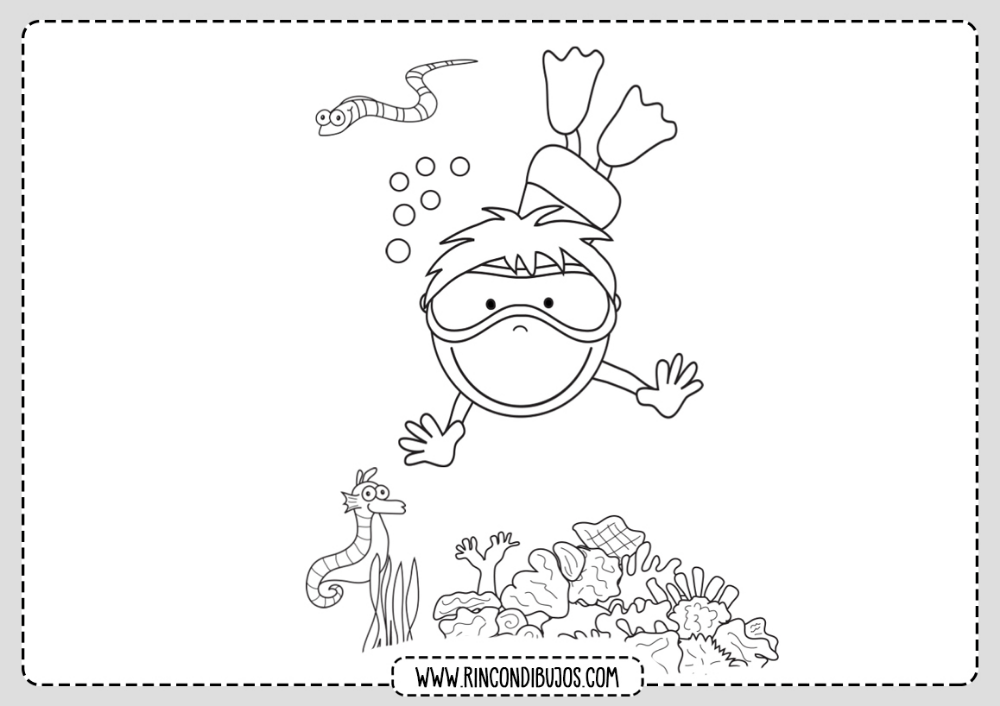 Dibujo Nino Buceando Colorear Rincon Dibujos Mar Para Colorear Dibujo Del Mar Dibujos