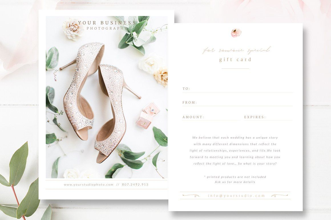 Wedding Photographer Gift Card Template Gift Certificate Psd By