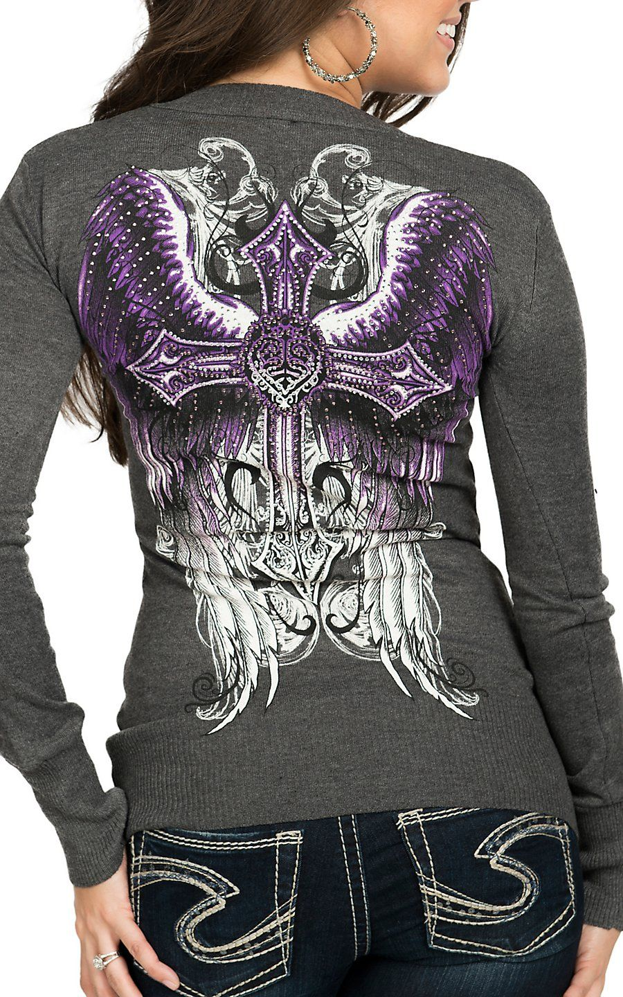 Sinful Affliction Women' Grey Promised Long Sleeve