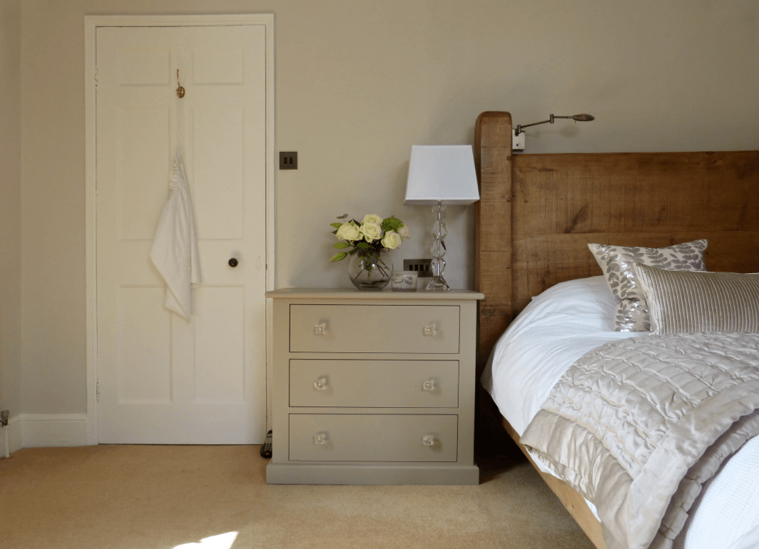 Contemporary luxe bedroom with small chest painted in for Rolling fog little greene