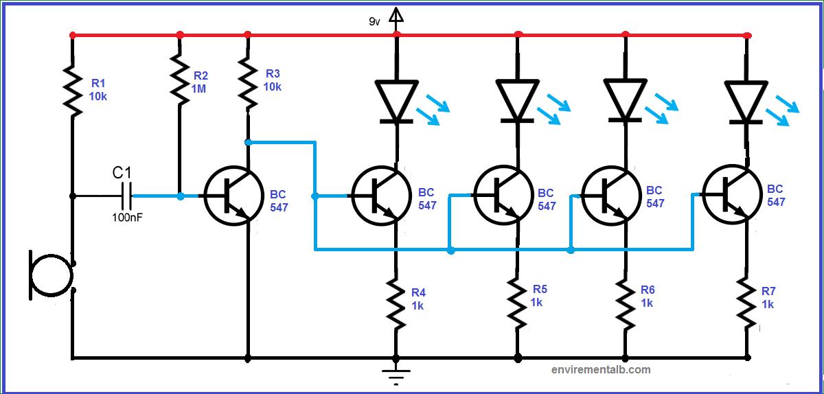 Simple Led Music Light Circuit Diagram In 2020 Electrical Circuit Diagram Light Music Circuit Diagram