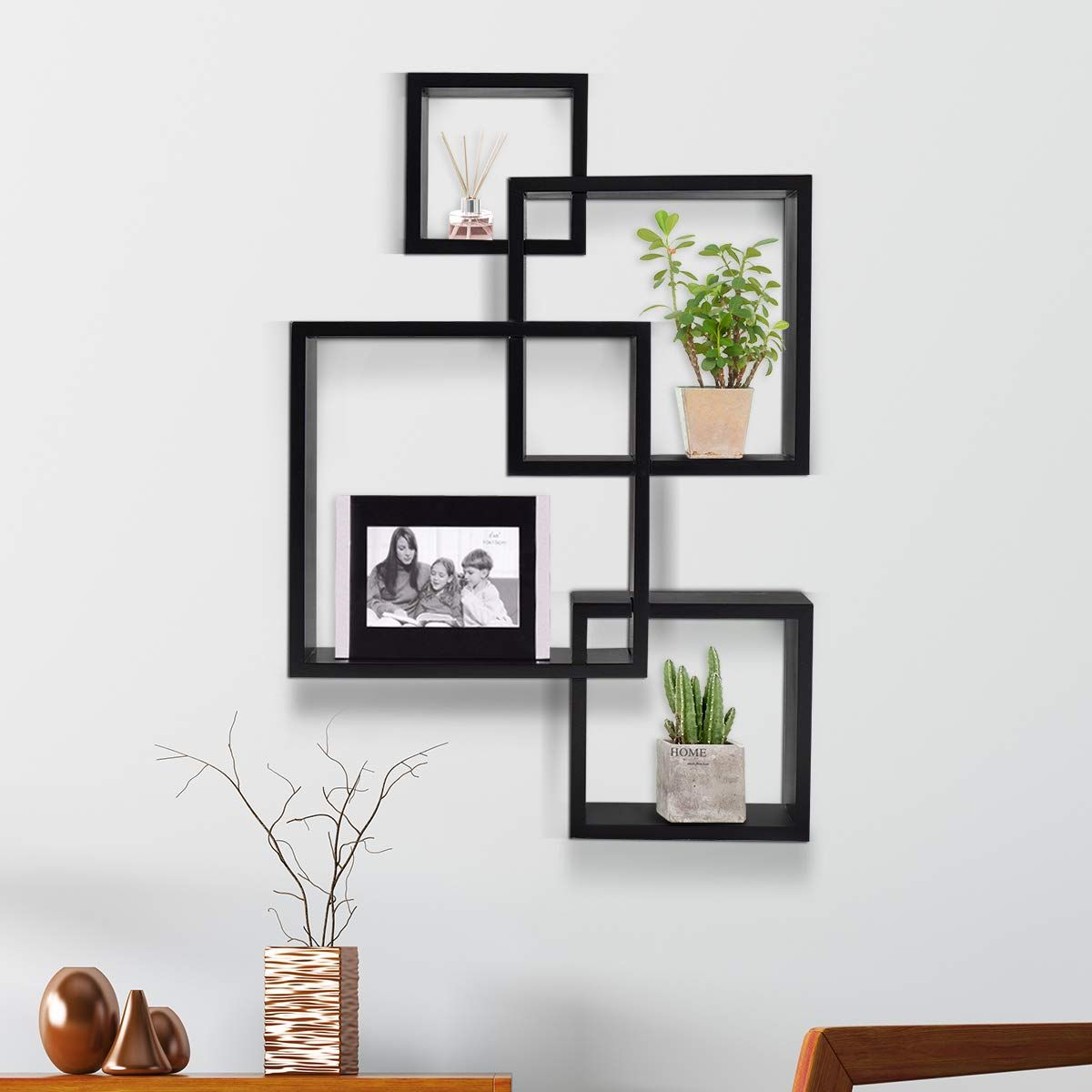 giantex 3 cube intersecting floating shelves square wall on wall shelves id=48450