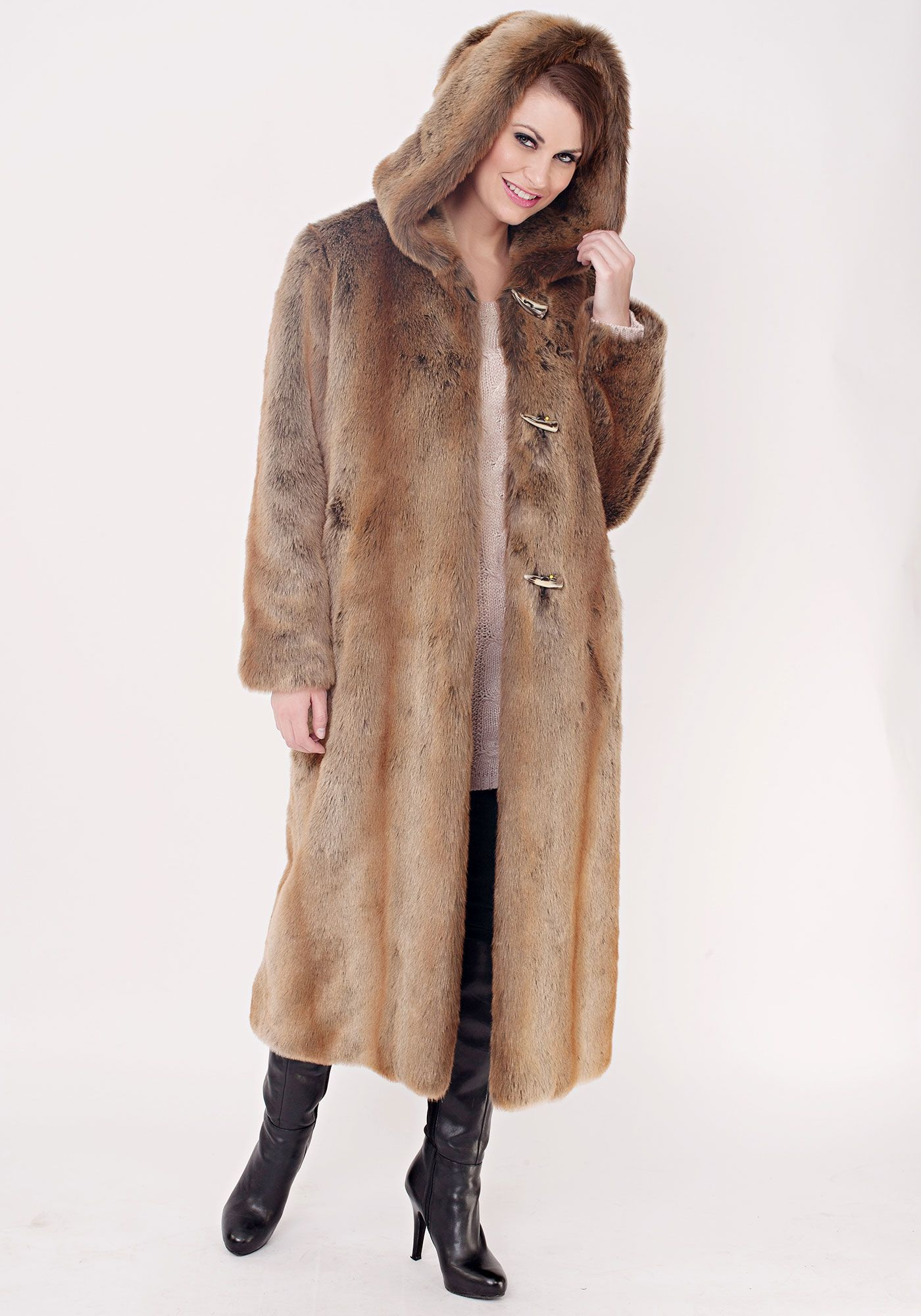 60. Coat, Flux Fur Coyote Hooded Full-Length Coat | Fabulous-Furs ...