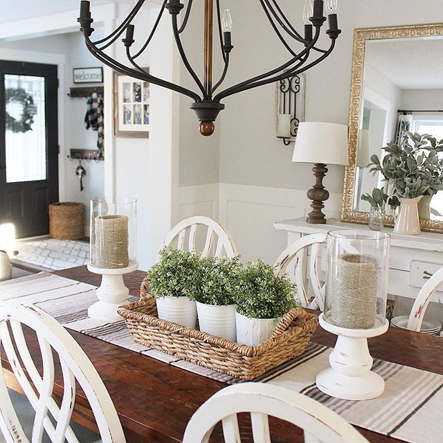 I Love Our New Diy Chair Rail In Here We Did A Faux Board And Batten On The Lo Farmhouse Dining Room Table Farmhouse Dining Rooms Decor Farmhouse Dining Room