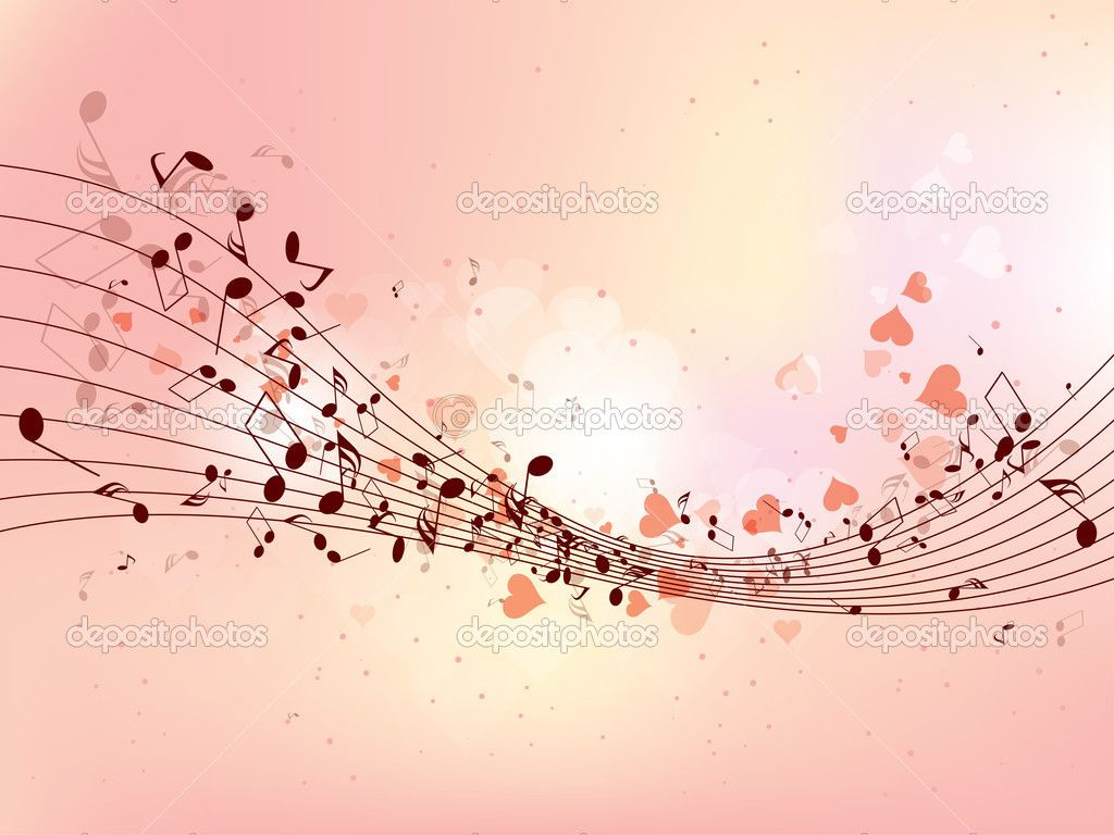 Abstract design background with colorful music notes — Stock