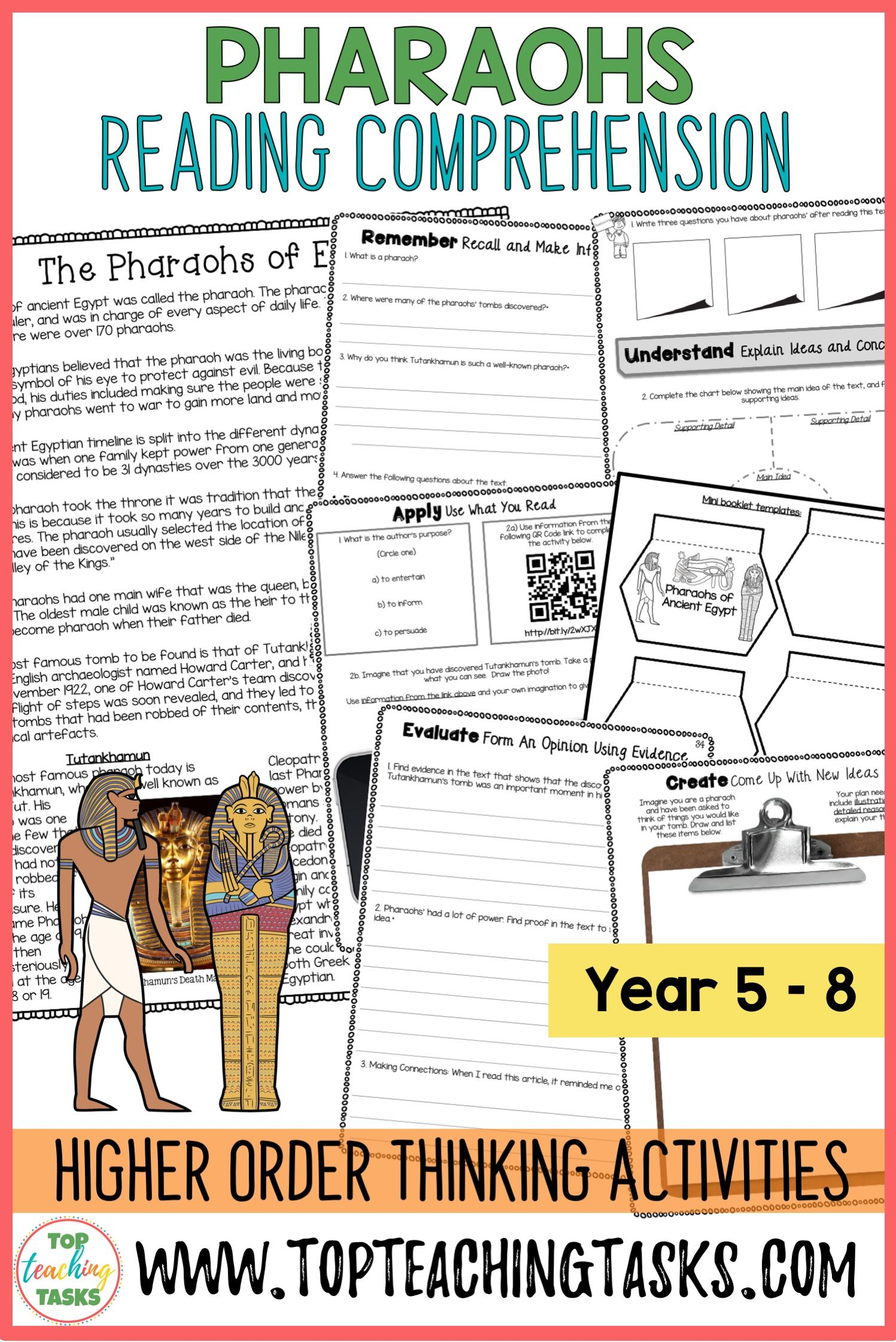 Pharaohs Reading Comprehension Passages And Questions