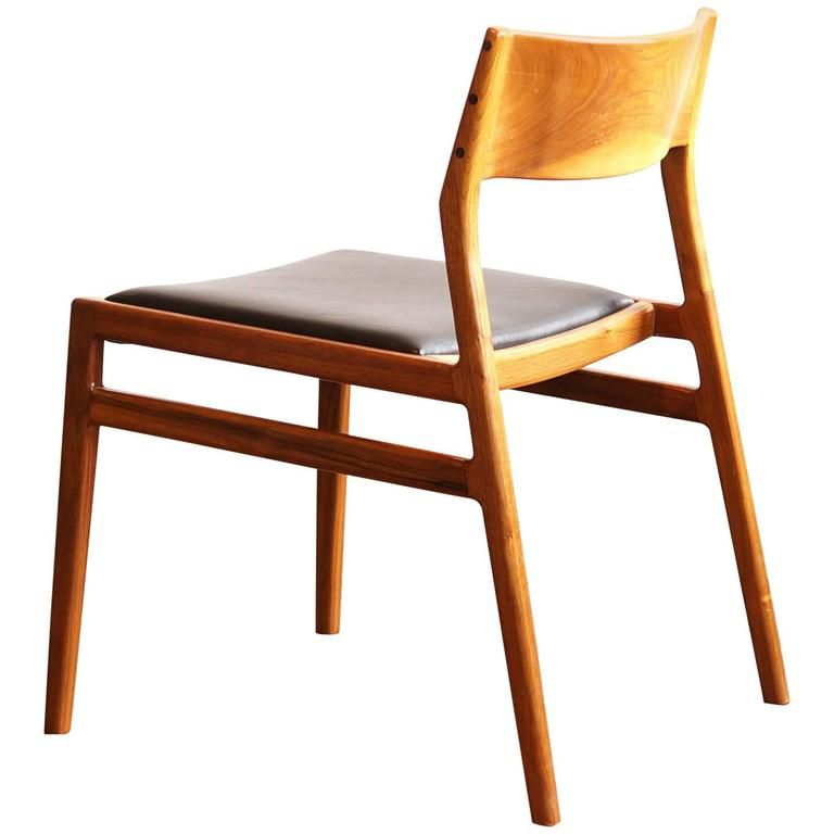 C03 Solid Walnut Dining Chair With Leather Seat By Jason Lewis