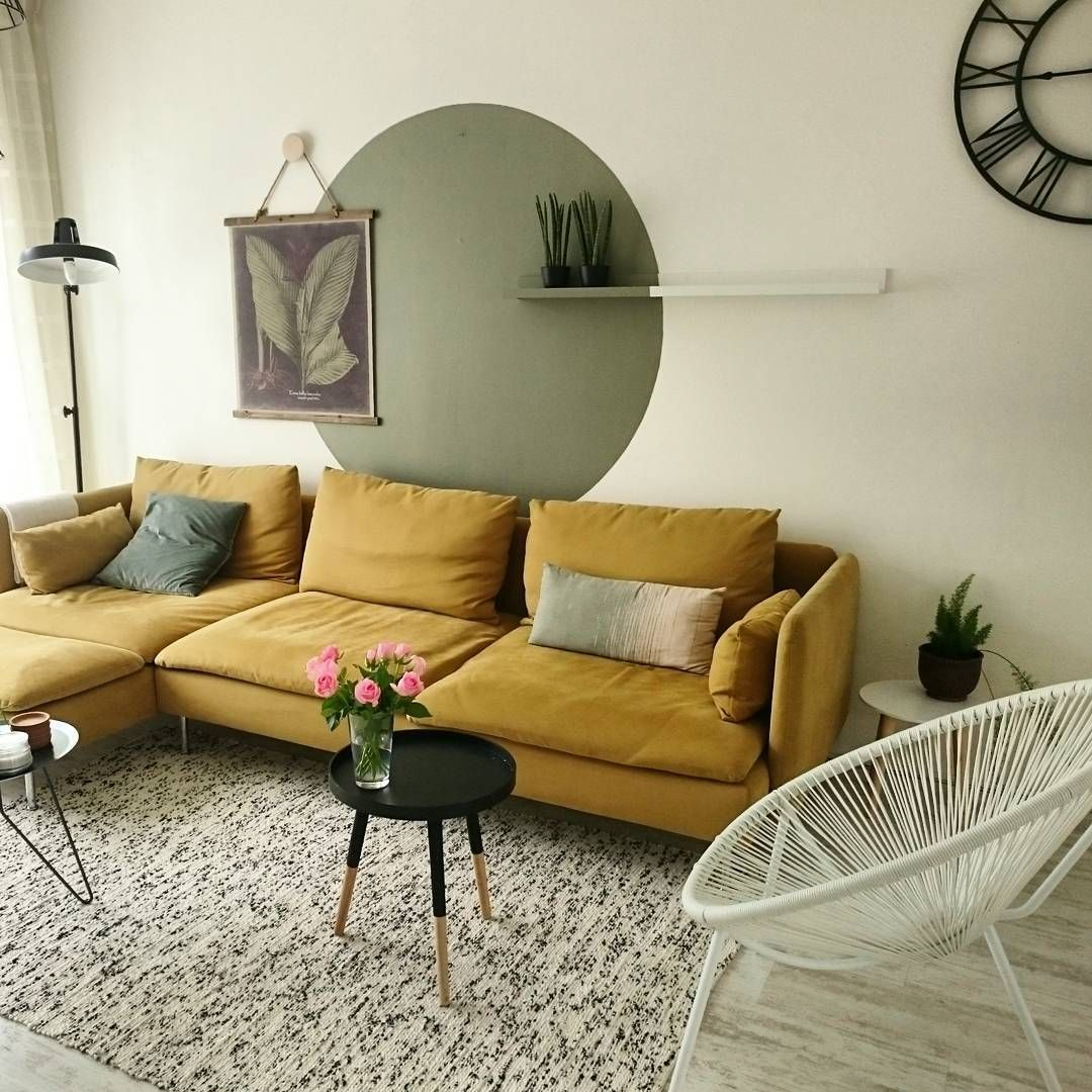 Mustard ikea 39 s derhamn 39 sofa living room for Living room ideas mustard