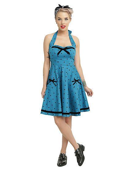 Hell Bunny Blue Dot Jolene Halter DressHell Bunny Blue Dot Jolene Halter Dress,