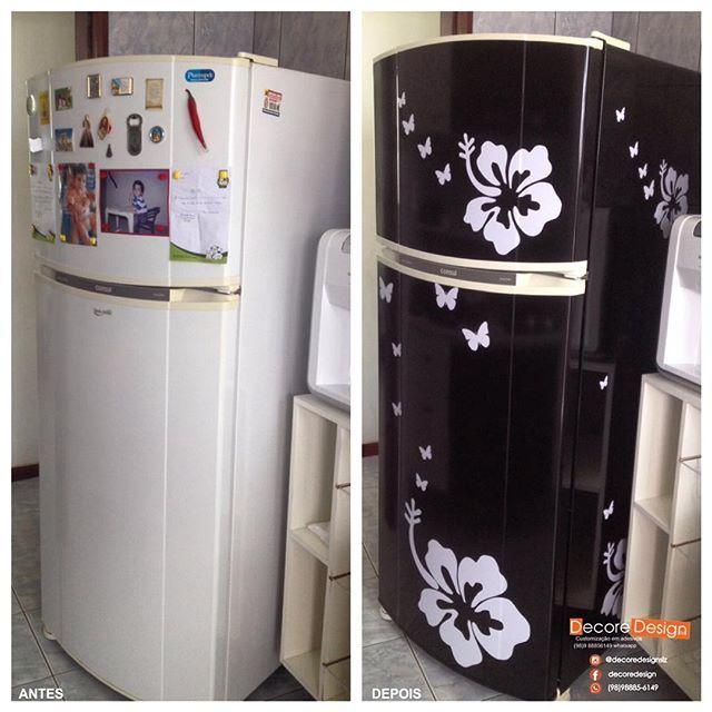 Adesivo Boca Violao ~ O antes e depois da geladeira da Delana u2026 Pinterest
