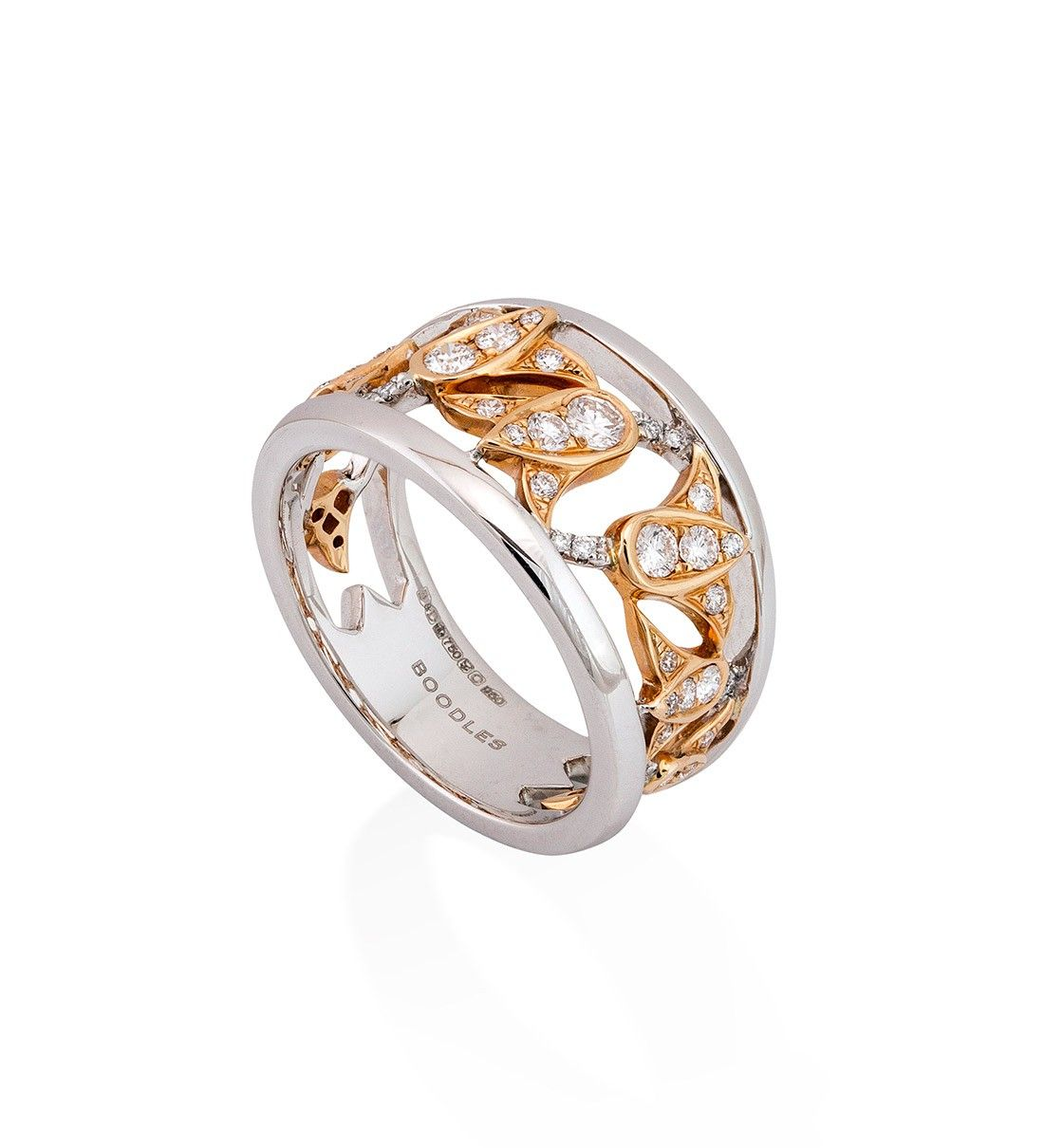 Maymay bluebell rose gold and platinum diamond ring boodles