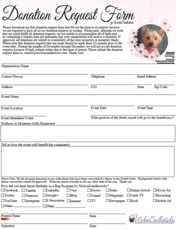 Please Download Our Free Donation Request Form And Fill Out The