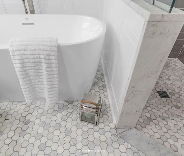 9 45 Free Ship Carrara Hexagon Honed 2 Marble Bathroom Floor Mosaic Flooring Hexagon Tile Bathroom