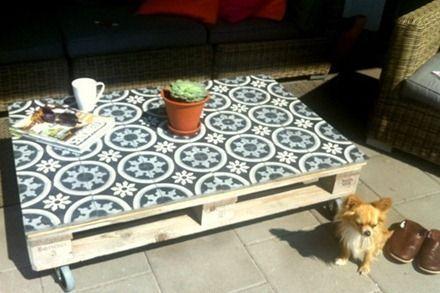Carrelage Adhesif Carreaux De Ciment Pour Relooker Une Table Basse En Palette Http Www Hom Relooker Une Table Basse Palette Diy Adhesif Carreaux De Ciment