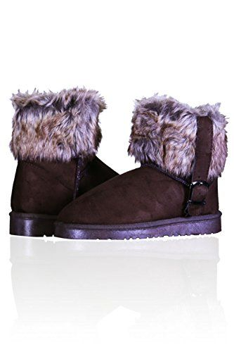 Basico Womens Winter Boots Valencina Fur Belt Accent 8 Dark Brown >>> Find out more about the great product at the image link.
