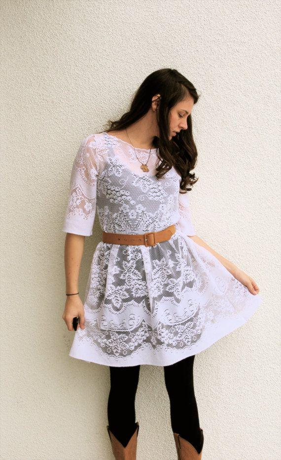 Upcycled White Lace Dress