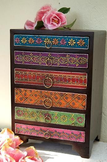Indian Chest Of Drawers   This Would Be Easy To Do Yourself, Make An Old  Dresser New Again. Decoupage Wrapping Paper On The Drawer Fronts.