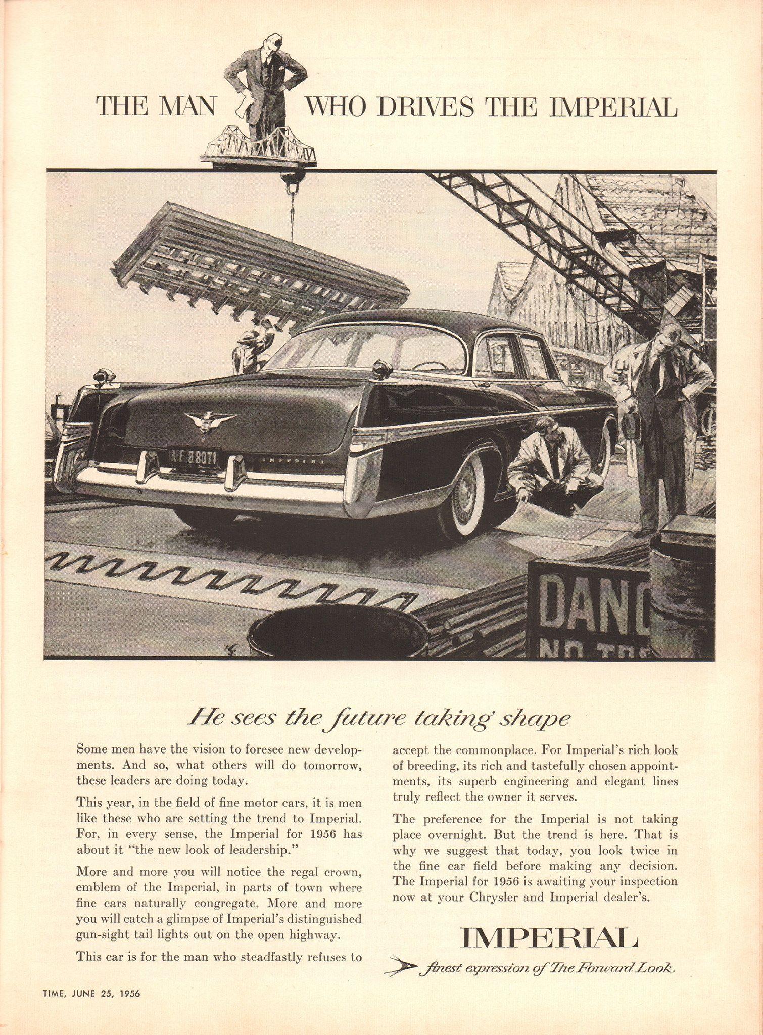 https://flic.kr/p/SDEtRj | 1956 Chrysler Imperial Advertisement Time Magazine June 25 1956 | 1956 Chrysler Imperial Advertisement Time Magazine June 25 1956