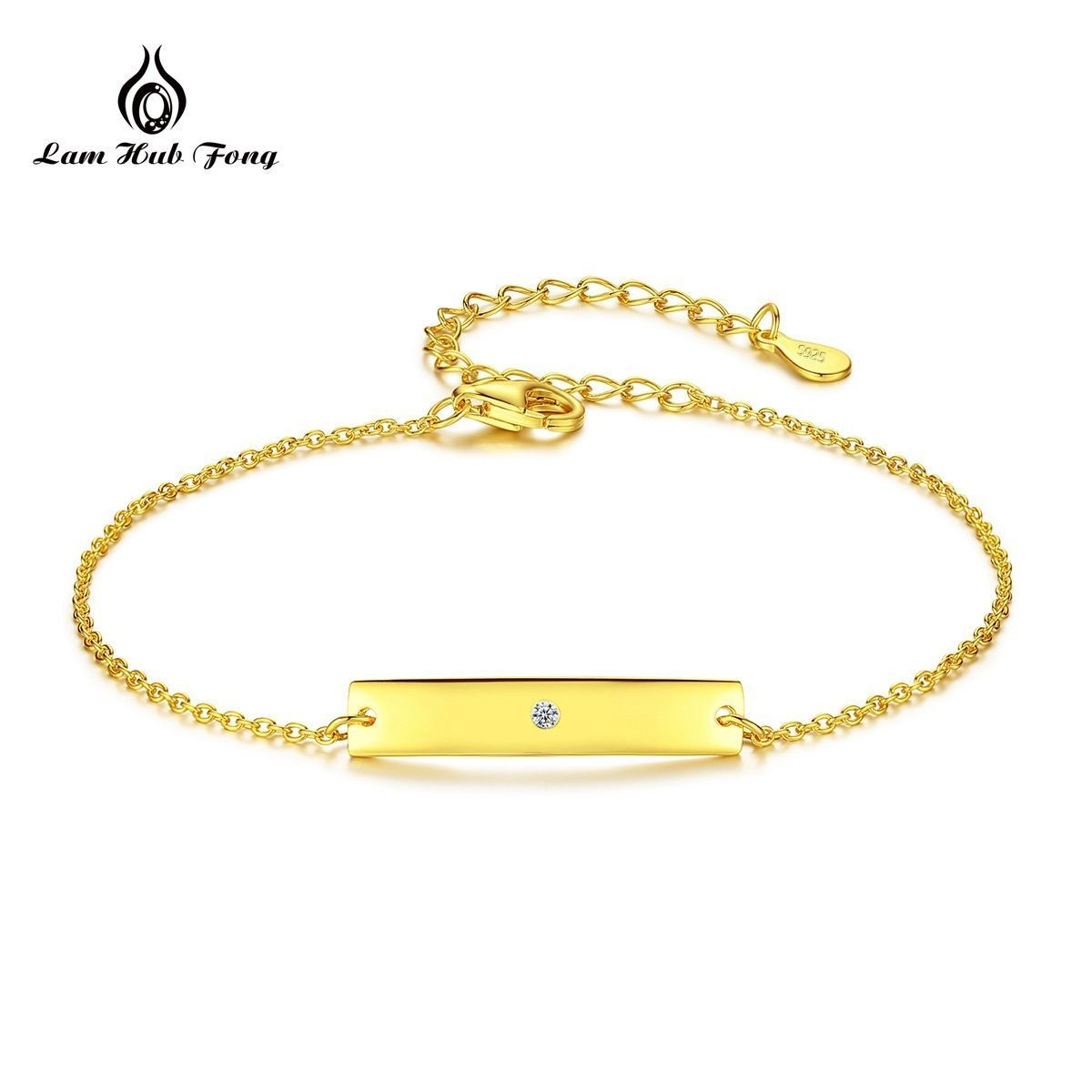 romantic rectangle design Gold Bracelet AAA Zircon k gold