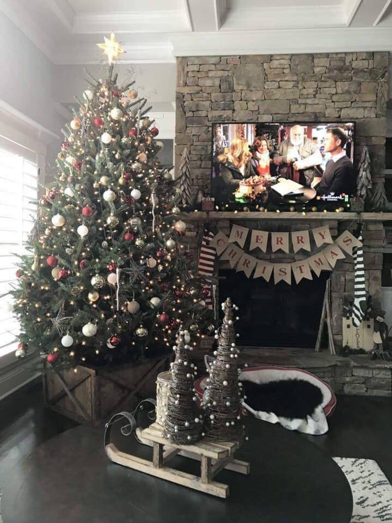 The Farmhouse Christmas Tree Box Tree Skirt Tree Collar Etsy Christmas Tree Box Farmhouse Christmas Decor Christmas Lights