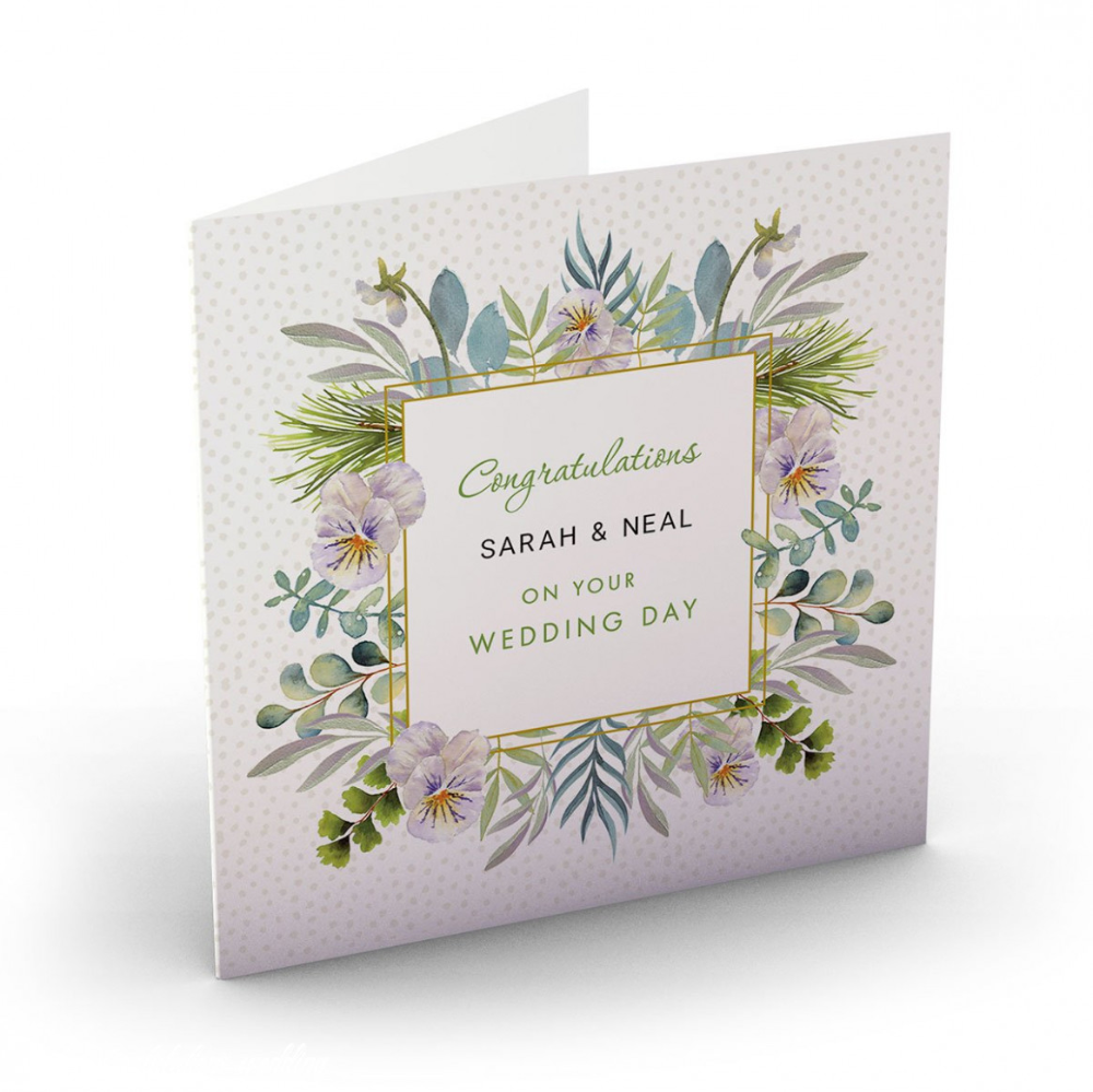 Wedding Card Personalised Botanical