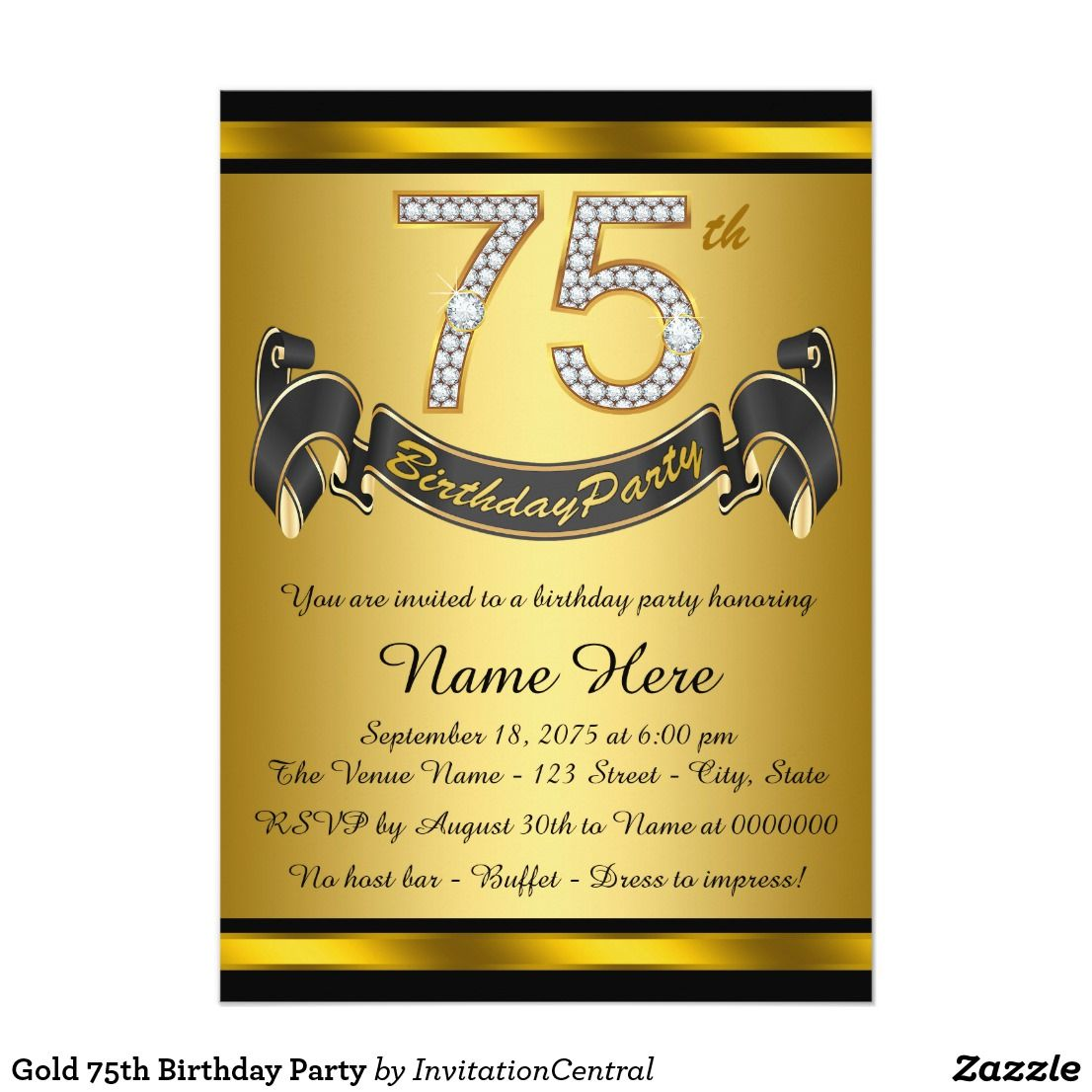 Quotes 75Th Birthday Gold 75Th Birthday Party Card