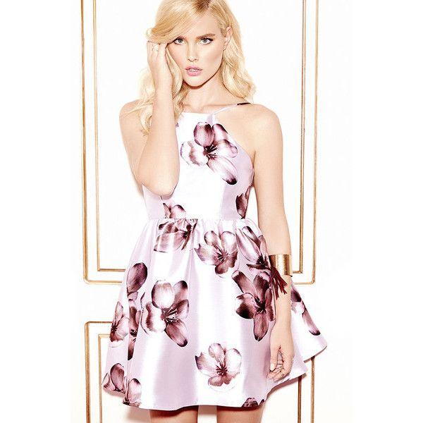 Floral Borealis Lavender Floral Print Dress ($59) ❤ liked on Polyvore featuring dresses, lavender dress, circle skirt, flared skirt, pink sparkly dress et lavender skater skirt