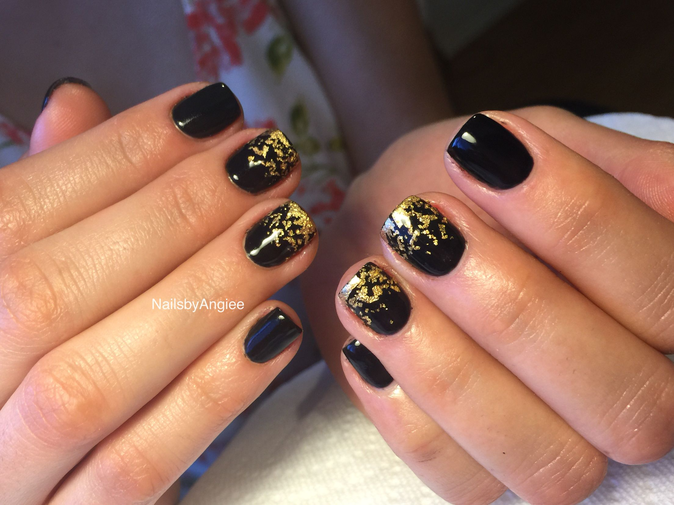 Black Gel With Gold Foil Nail Design Nailsbyangiee Cute Nails