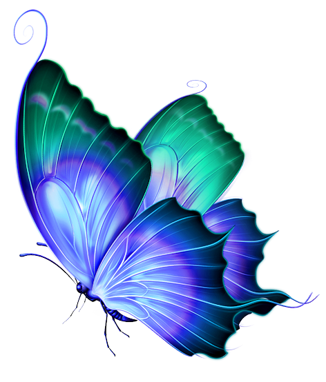Transparent Blue And Green Deco Butterfly Png Clipart Clip Art Vintage Butterfly Painting Art