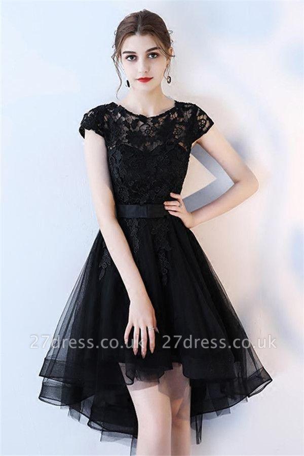 Black Lace Prom Dresses Hi Lo Vintage Formal Evening Gowns