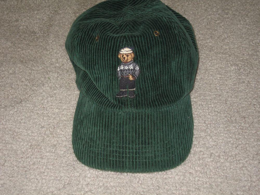 Vintage POLO by RALPH LAUREN teddy bear corduroy hat cap green OSFA  strapback  PoloRalphLauren  BaseballCap 9530b00d12e
