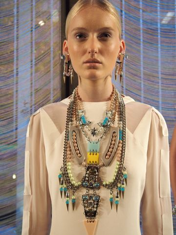 Fenton multistrand necklace incorporating components from Africa and Middle East
