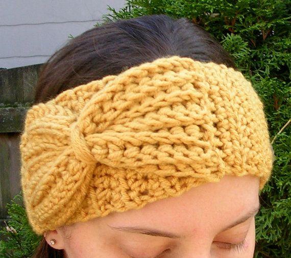 Headband Ear Warmer with Bow Crochet Pattern by LindsayStreemDIY ...